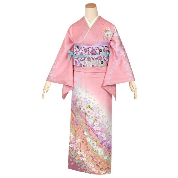 b841331aa23ac 品番/品名 H471/ピンク 辻が花に熨斗 金糸を織り込んだ華やかな生地を淡いピンク色に染め、辻が花の文様を施した繊細な魅力の訪問着です。
