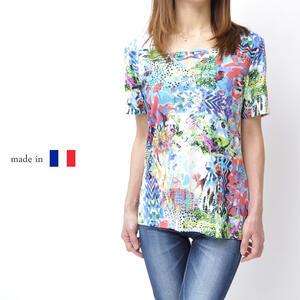 【フランス製】レディース 高級Tシャツ 高級 ミセスファッション ミセスカジュアル 女性 プレゼント 母の日 婦人服 50代 60代 カットソー  Vネック 鮮やか 大きい