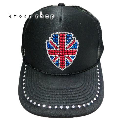 5fc407648fb スワロフスキー キャップ スワロ 帽子デコ デコキャップ ラインストーン -ユニオンジャック- キャップ 帽子 スワロフスキー