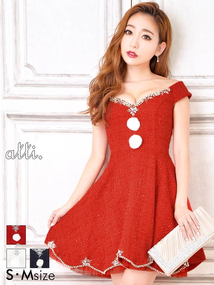 f03e41a3bd076 可愛らしい雰囲気漂うAラインフレアミニドレス。キラキラと輝く糸を織り込んだツイード素材を使用しています。花びらのようなスカラップカットを施したフレアスカート  ...