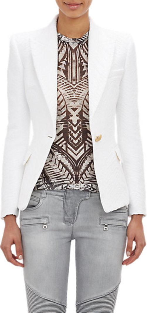 6b72fc095766f Balmain Folkloric Jacquard Double-Breasted Jacket Balmain Folkloric  Jacquard Double-Breasted Jacket