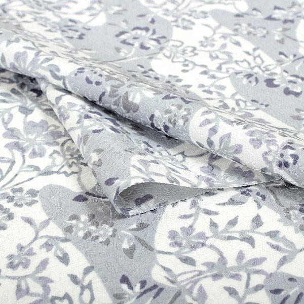 只有纯丝小花纹绸缎丹后chirimen缝制的绸缎单物品和服灰色白藏青色