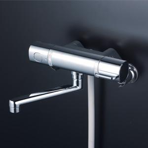 (220mm〜350mm) 【送料無料】 (浴び心地のいい快適節水シャワー) ■可変ピッチ式■シャワーホース白1.45m シャワーヘッド白 デッキ形サーモスタット式シャワー■eシャワーNf KVK KF3011TSJ ■伸縮自在パイプ付