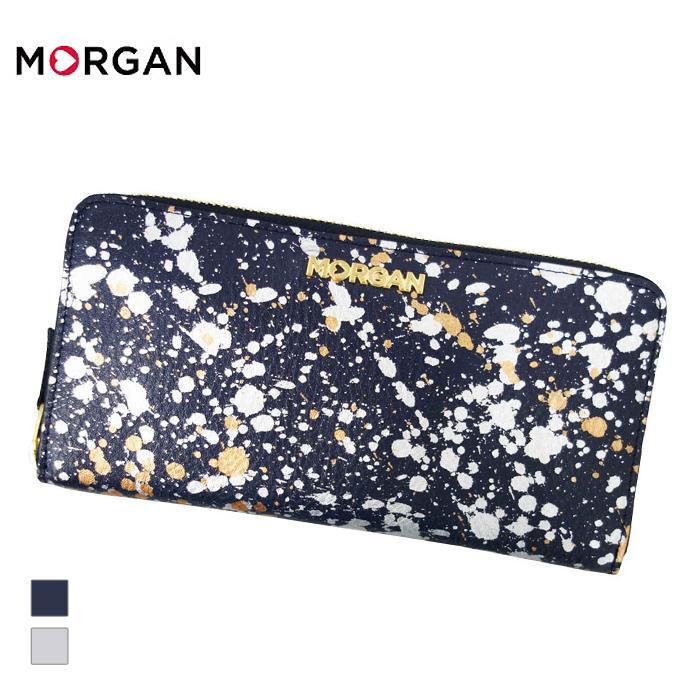 4884f0320523 MORGAN/モルガン MR4004 飛沫模様 レザー ラウンドファスナーロングウォレット 長財布 (ネイビー) (MR4004)