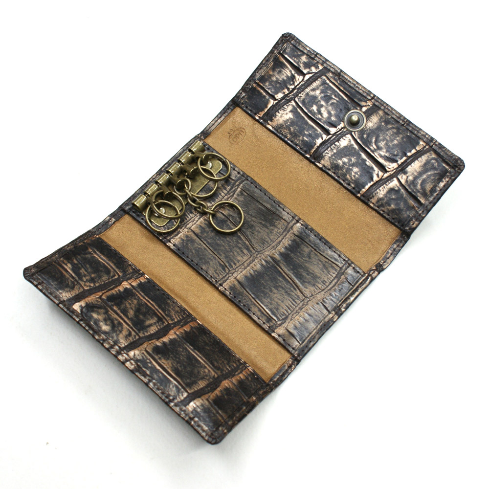 a829232a6382 キーケース 本革 キーホルダー クロコダイル革 オンライン財布 ワニ革 ...