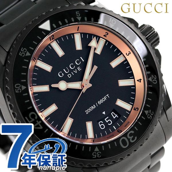 古驰潜水石英人手表ya136213 gucci全部黑色图片