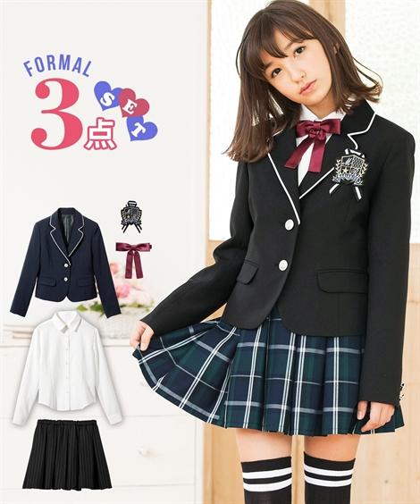b1704fb7373db  卒業式 フォーマル3点セット(ジャケット+ブラウス+スカート)(女の子 子供服 ジュニア服) ニッセン nissen