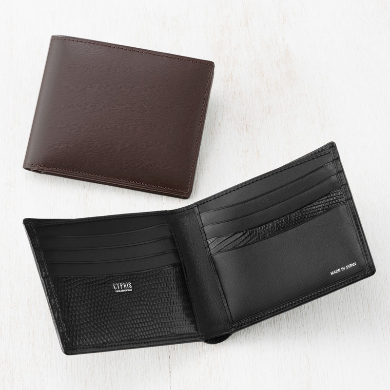 b566d60b9c53 【キプリスコレクション】二つ折り財布(カード札入?小銭入れなし)□ボックスカーフ&リザード2