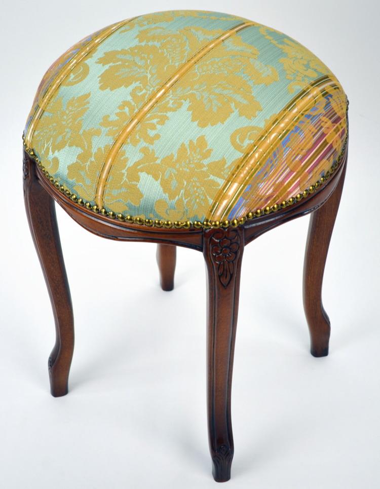 意大利制造圆凳子木制青绿色花纹(椅子椅子椅子椅子脚放,像猫腿猫