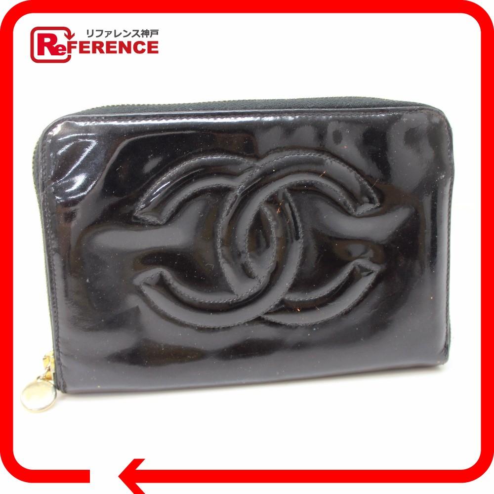 c4f438797a9d ... リサイクル | リファレンス | 販売 | レア物 | 新品 | CHANEL シャネル ラウンドファスナー長財布 CC 長財布(小銭入れあり)  エナメル ブラック レディース