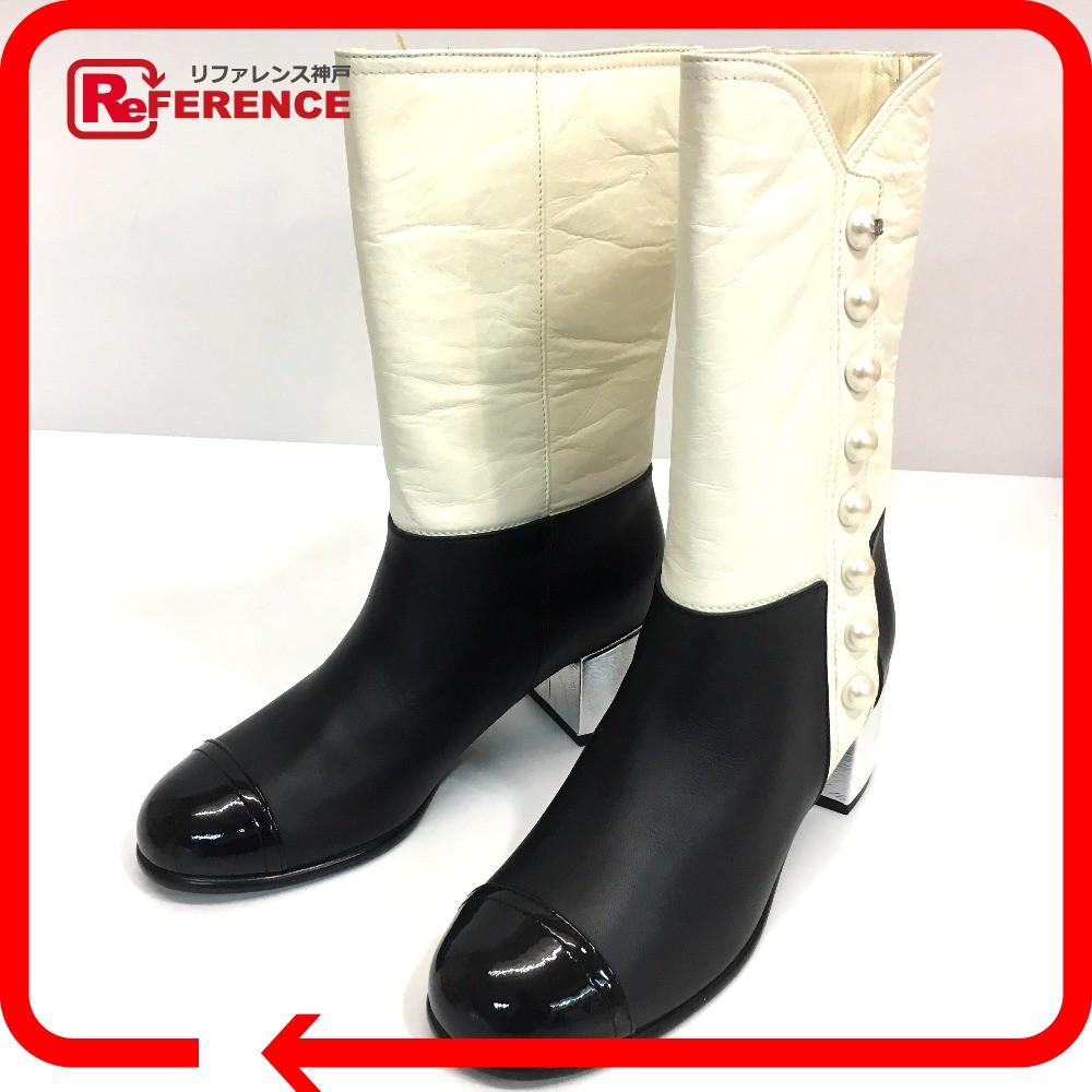 9b517f0b05de ... リサイクル | リファレンス | 販売 | レア物 | 新品 | CHANEL シャネル バイカラー フェイクパール シューズ 靴 ブーツ  レザー ホワイト レディース 新品同様