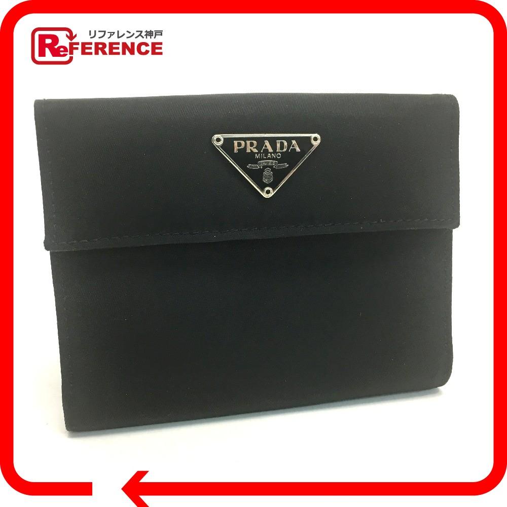 6c6caa688bb2 ... 新品   PRADA プラダ M523 Wホック財布 メンズ レディース ロゴプレート 二つ折り財布(小銭入れあり) サフィアーノレザー    /ナイロン ブラック ユニセックス
