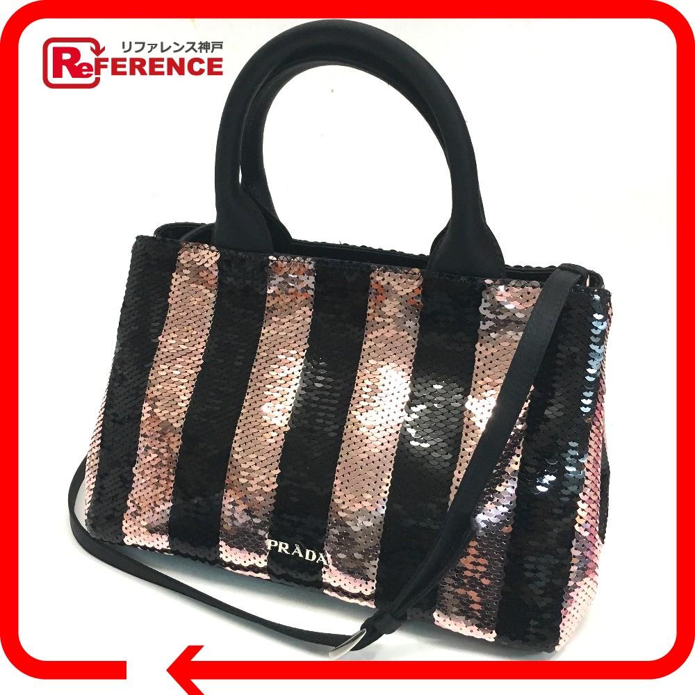 b3532077afff ... 新作 | レア物 | PRADA プラダ 1BA038 ショルダー バッグ ハンドバッグ ミニカナパ 2wayバッグ スパンコール | /サテン  ブラック レディース 未使用