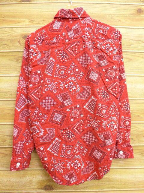 旧衣服长袖子衬衫印花大手帕花纹红红l尺寸中古人顶端