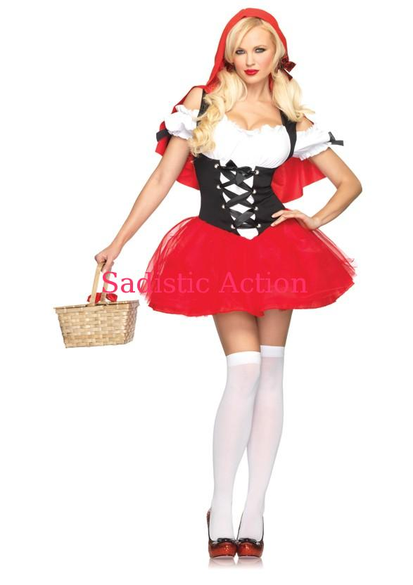 Leg Avenue Women/'s 2 Piece Gothic Red Riding Hood Costume Red//White Small