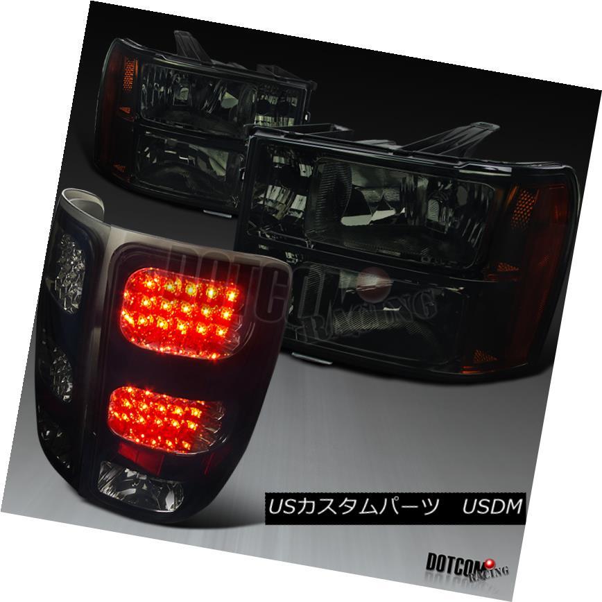 07-13 GMC Sierra 1500//2500//3500HD Smoke Headlights+Glossy Black LED Tail Lamps