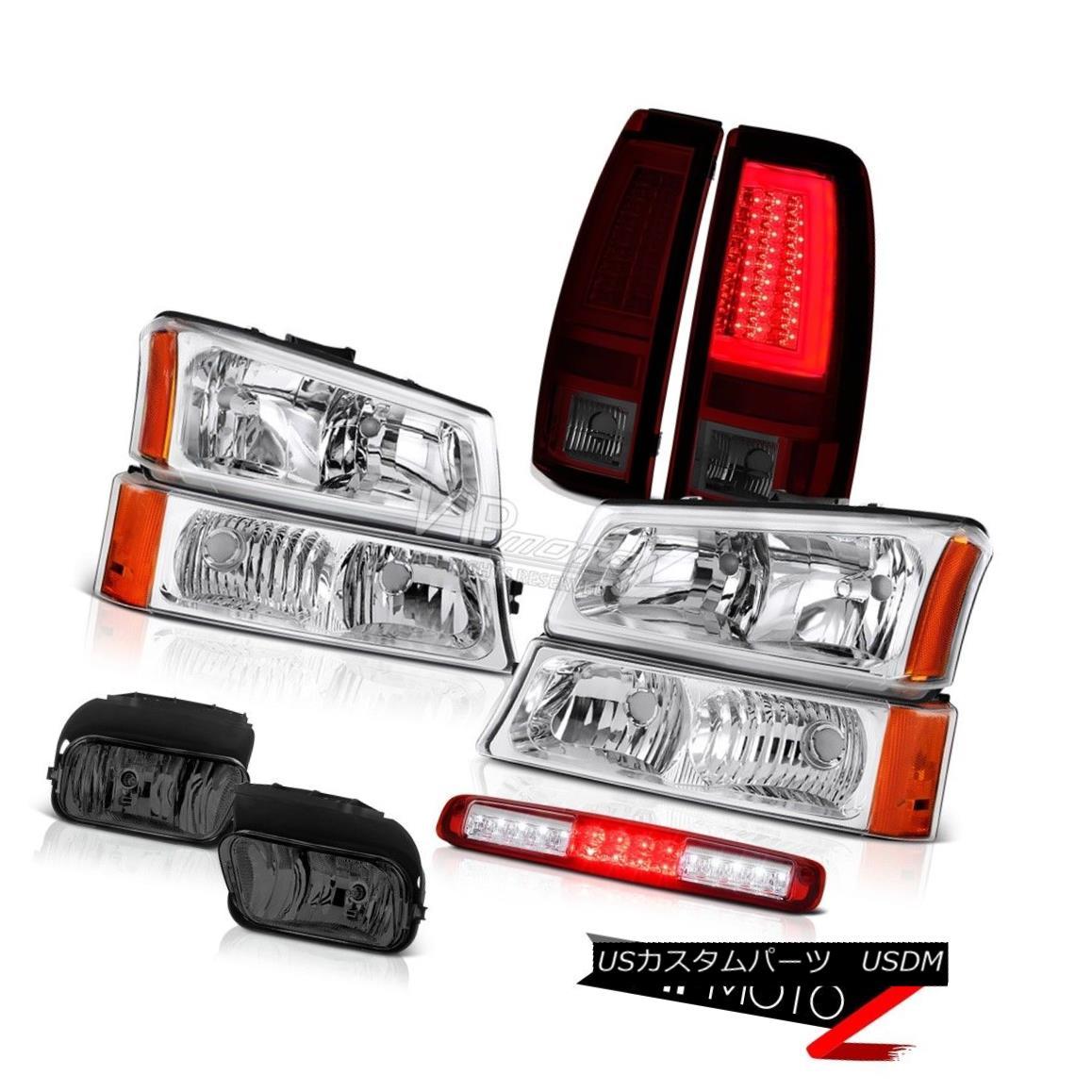 94-98 CHEVY FULL SIZE HEADLIGHTS BLACK HALO 10 PCS ALTEZZA TAIL LIGHTS RED SMOK