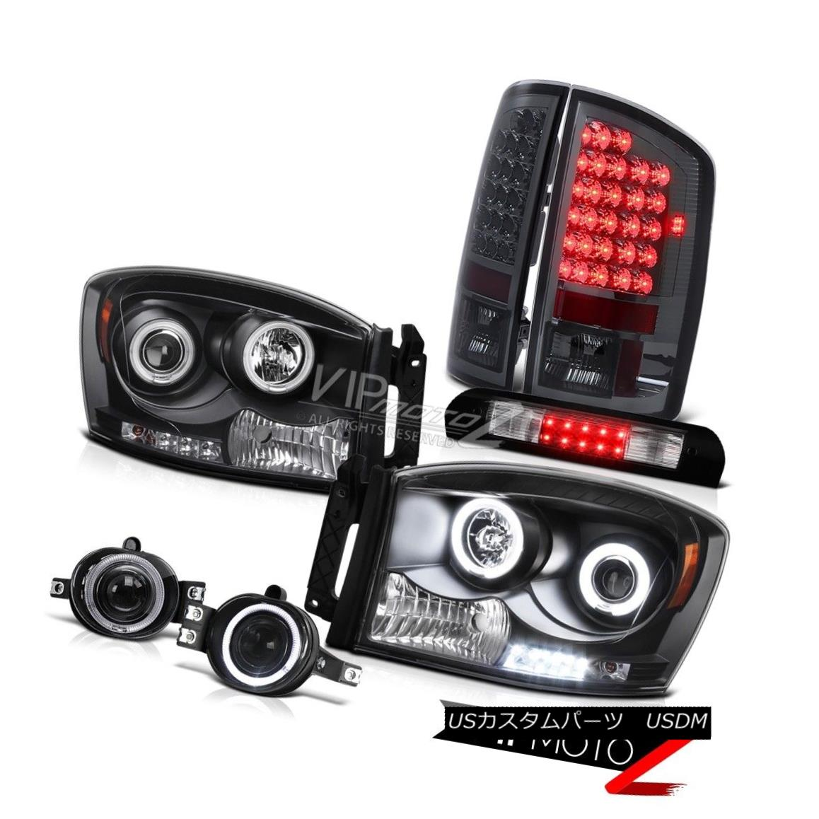 Fit 09-14 Ford F150 Chrome LED Strip Projector Headlights+Clear LED Tail Lamps