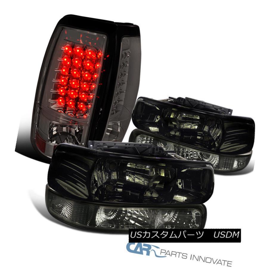 CHROME AMBER BUMPER HEADLIGHT+BLACK LED TAIL LIGHT FOR 99-02 CHEVY SILVERADO