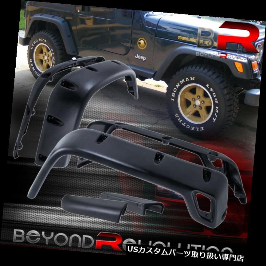 """For 1997-2006 Jeep Wrangler TJ BLK 6/"""" Pocket Rivet Style Fender Flares Protector"""