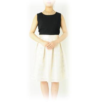 e061918d83203 パーティードレス レンタル ドレス単品 9号「ブラックxベージュチェック ボックスプリーツワンピース」g522t