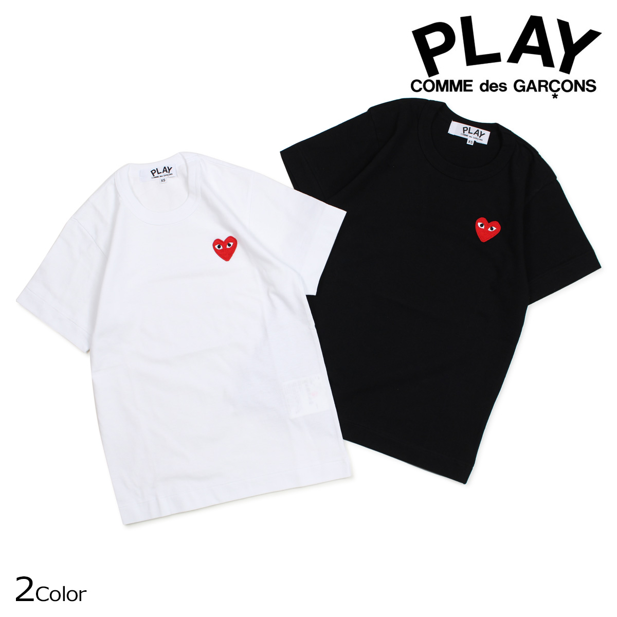 Comme Des Garcons CDG Play Unisex Classic Mini Two Heart  Short Sleeve T-shirts