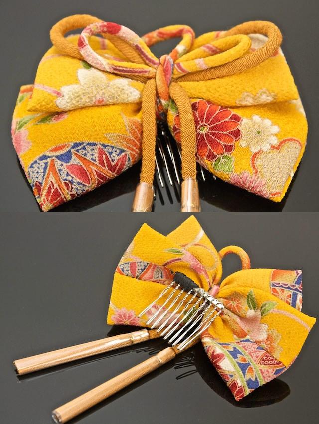 黄色图成人_头饰黄色花发带绉绸和睦柄成人仪式毕业典礼