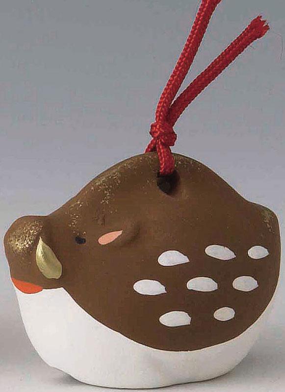 黄道十二宫粘土的钟声生肖陶瓷,12 动物钟声,傅 rin 野猪 (野公猪和