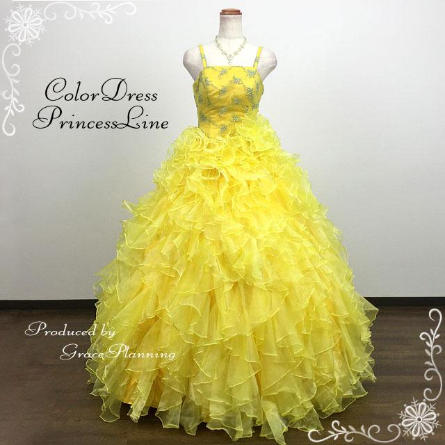 ad4c4896c6dde サイズオーダー カラードレス (イエロー ミニドレス オーダードレス 黄色 ...
