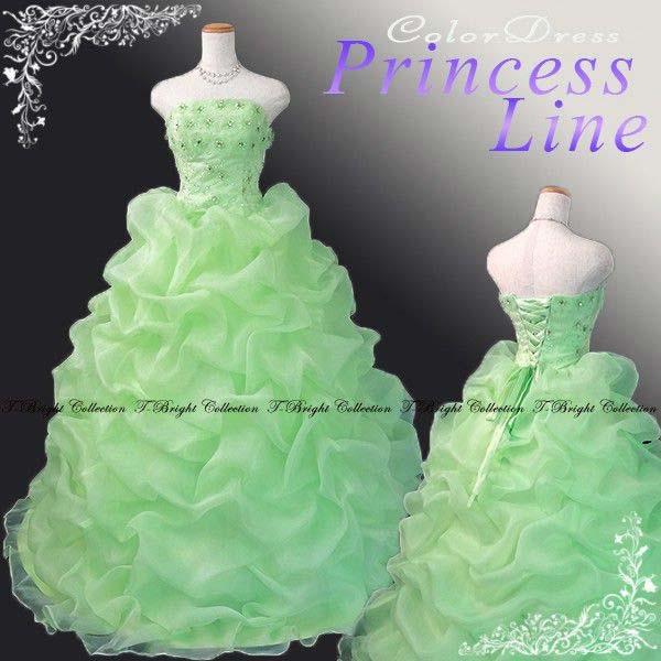e40c4d17d533b サイズオーダー カラードレス ライトグリーン 黄緑 プリンセスライン 胸花のドレス♪ RCP tb52920mid 送料無料  送料無料