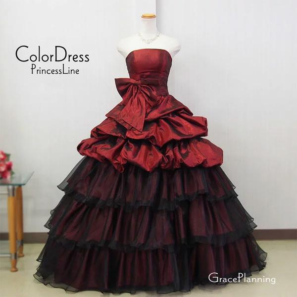 5e3bbc0e16cec 商品説明バイカラーの上品なドレスです  深いワインとブラックの光沢とウエストリボンがアクセント。  裾のフリルはワイン生地とブラックオーガンジーの2枚重ねになっ ...