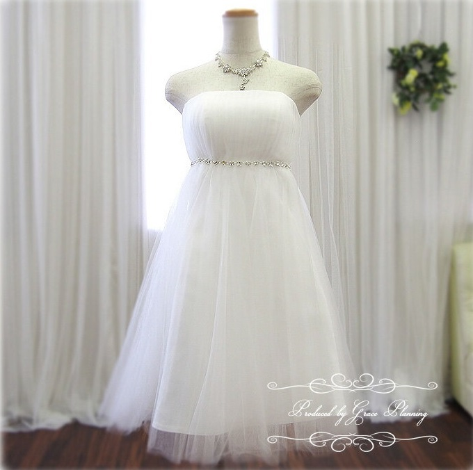 9326bd53c9ddd ミニドレス(オフホワイト)5号7号9号 ウェディングドレス ショート丈 ミモレ丈 花嫁 パーティードレス 結婚式 海外挙式 二次会 30110  ウェディングドレス