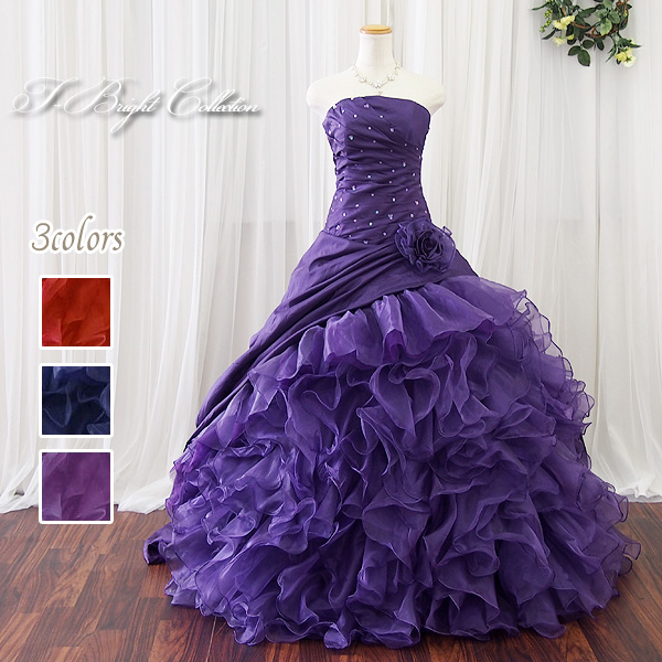 56e7a7a9e3ec1 商品説明 結婚式の二次会や、演奏会などで映えるボリューミーなカラードレス! 背中編上げタイプなので、ご自身の体のラインに沿ってサイズを微調整できます。