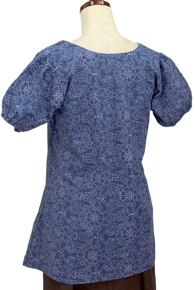 Short Sleeve Fl Print Tunic Blue Ethnic Clothes Clothing Fashion Asia India Asian Women Tops