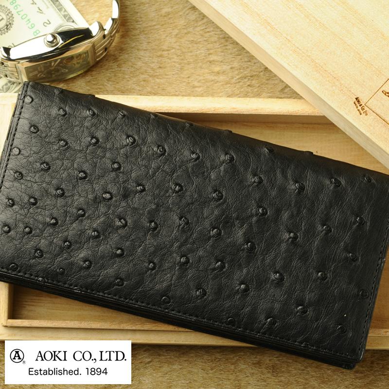 0fbdfc91e1af 青木鞄 Luggage AOKI 1894 オーストリッチ 長財布 小銭入れなし Ostrich No.2432-10