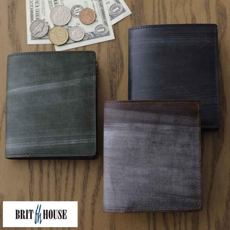 ecd645d5e8cc BRIT HOUSE ブライドルレザー 二つ折り財布 BOX型小銭入れ付き Bridle Leather Flat Series
