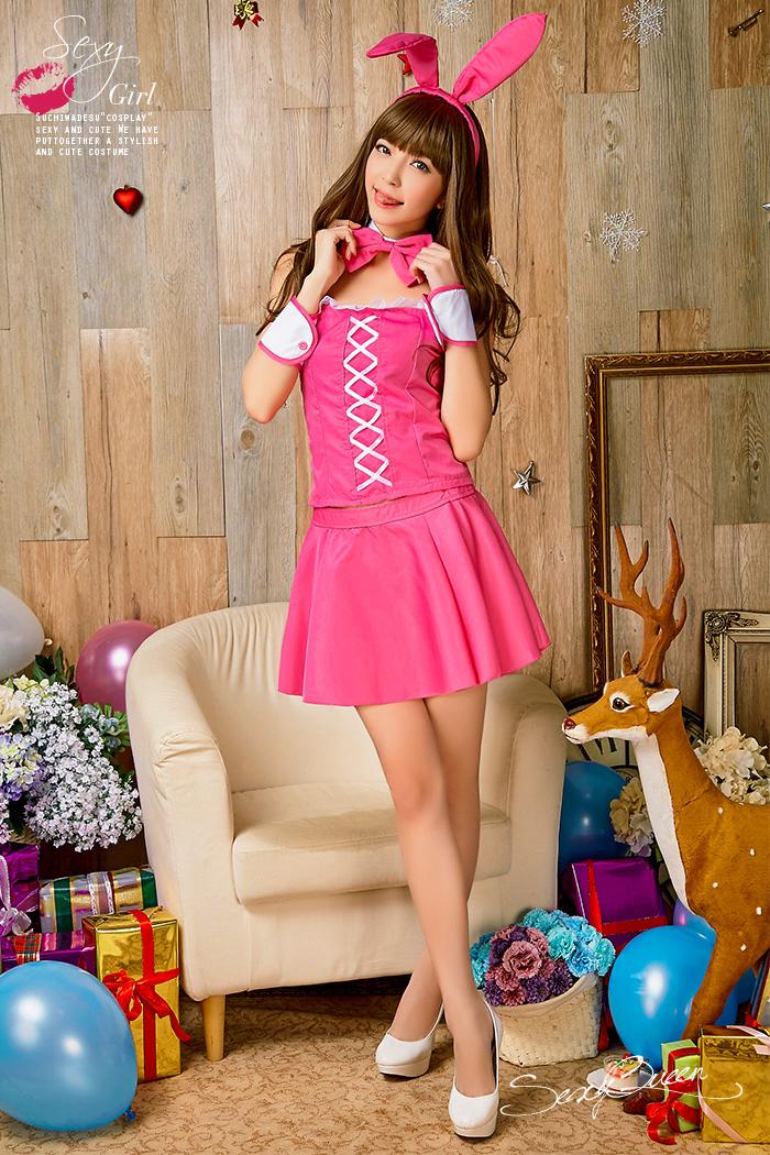 扰角色扮演女孩_cosplay 服装动物兔兔子兔子耳朵成年妇女的兔子兔子角色扮演圣诞兔子