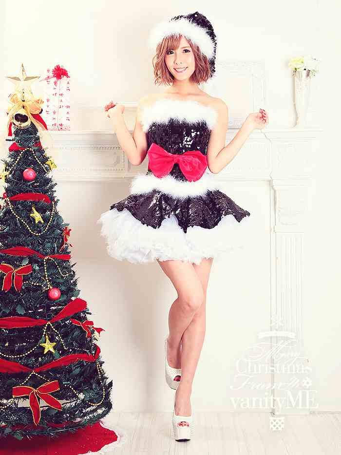 8f903744d8ff7 5点セット 超キラキラ!スパンコールサンタ·黒   クリスマス コスプレ ...