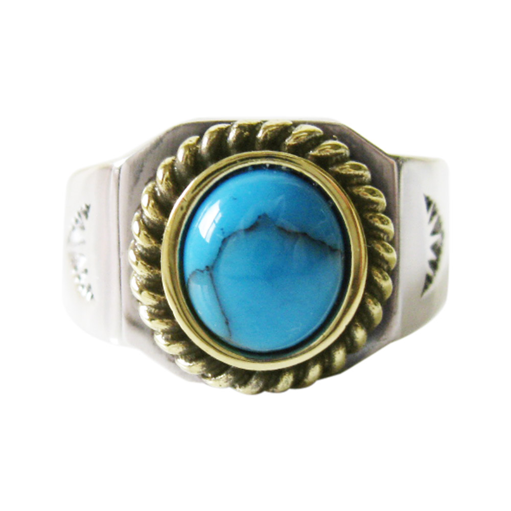 0001ppp Product Made In Turquoise Ring 3 Gold Rope 15 16 17 18