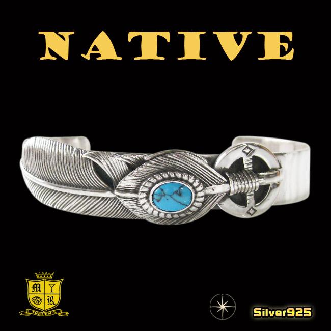 ネイティブバングル 18 ターコイズ メイン シルバー925 銀 ゴールドイーグル バングル 羽根 フェザー イーグル バングルwO8n0XPk