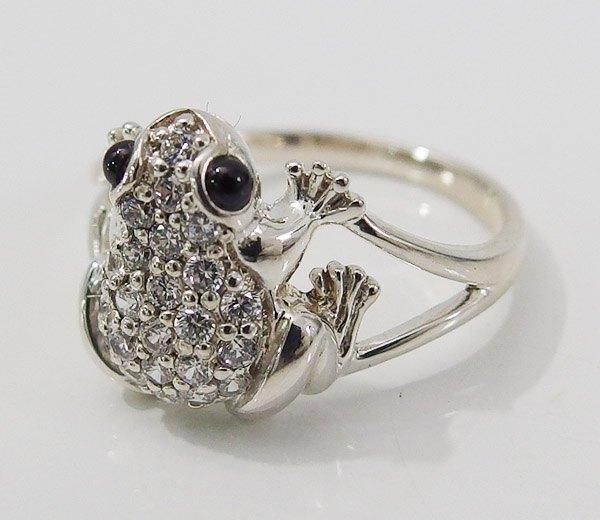 カエル リング カエルの指輪(4)CZ オニキス07号 09号 10号 11号 12号 13号 14号 15号16号 17号 19号 メイン シルバー925 銀 メンズ レディース  アクセサリー 蛙 かえる 天然石 指輪 リング  カエル 指輪 おしゃれ