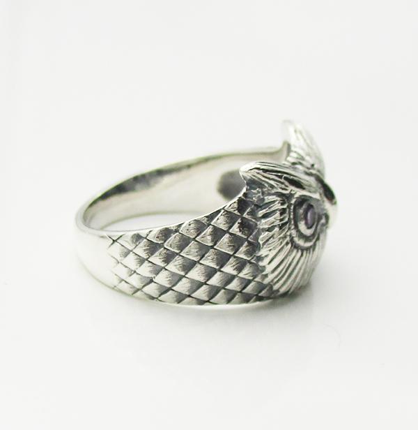 フクロウの指輪 4 アメジストメイン 天然石 パワーストーン 鳥 指輪 シルバー925メンズ レディース 送料無料 リングb76vfygY