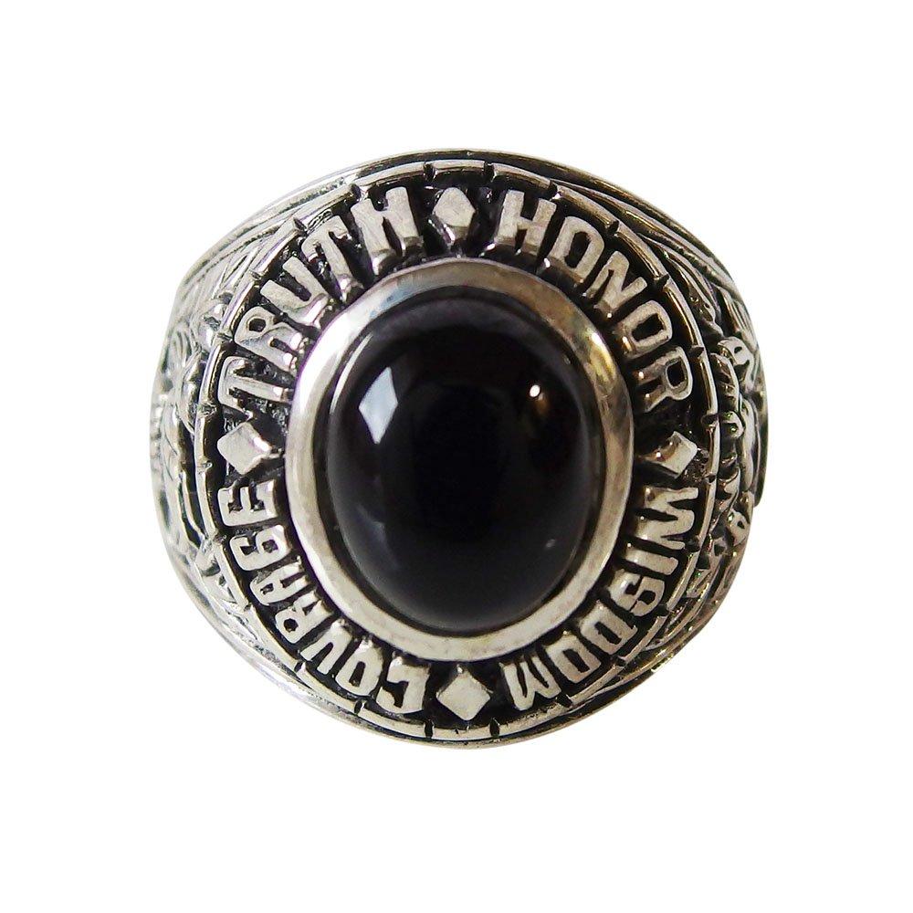 カレッジリング(12)オニキス メイン 指輪 シルバー925 銀 メンズ 高級感 卒業 記念 カレッジリング 指輪 COLLEGE 送料無料 おしゃれ 天然石 パワーストーン 黒色 ブラック