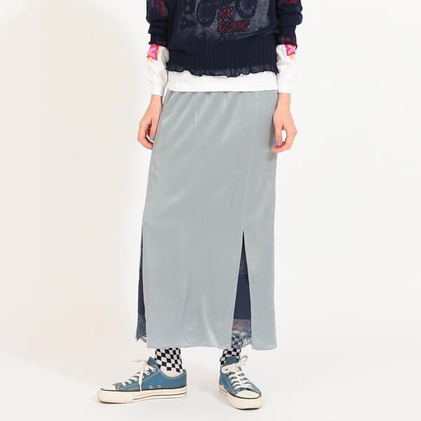 Silk Slit Reversible Skirt/ビームス / ボーイ maturely Satin