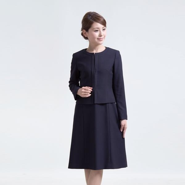 ワンピース お受験スーツ ノーカラー濃紺スーツ 前ファスナー メアリーココ (人気激安) エスコミュール レディース 面接 情熱セール