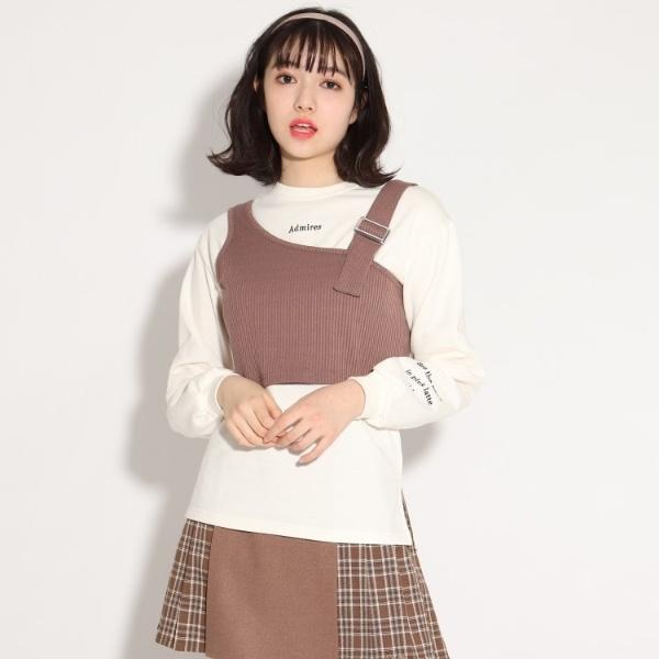 SALE 新生活 その他トップス ピンクラテ テレコリブビスチェ+ロンTセット 35%OFF