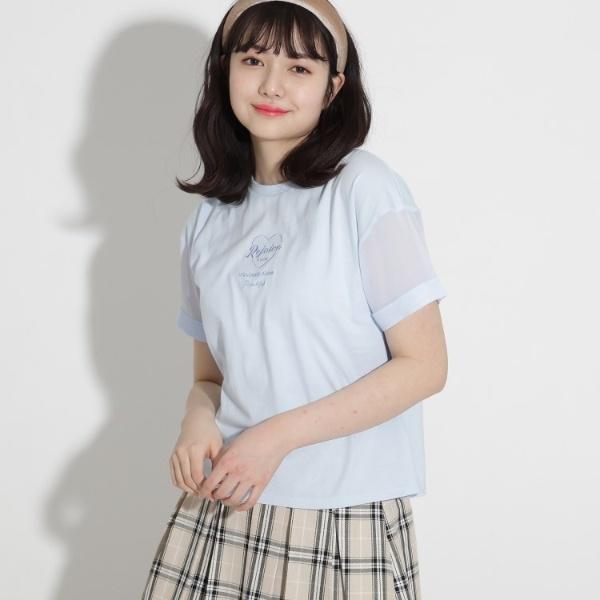 SALE その他トップス ピンクラテ シアースリーブ刺しゅうハートTシャツ ついに再販開始 春の新作続々