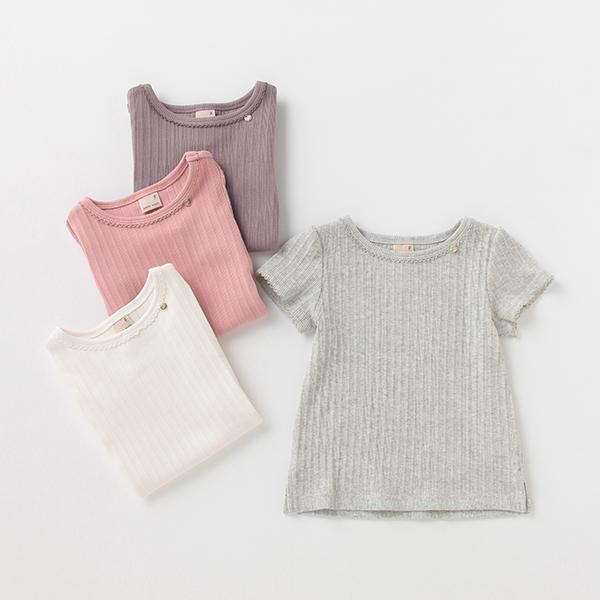 SALE Tシャツ カットソー テレコパフ袖Tシャツ セール価格 プティマイン 信託
