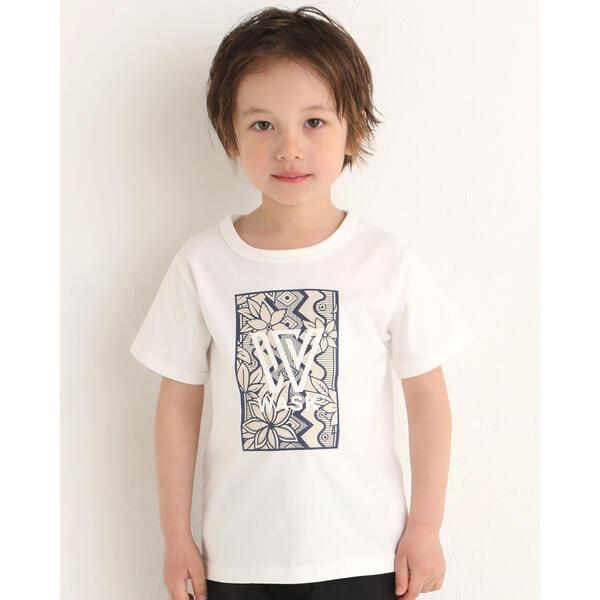 SALE 送料無料 一部地域を除く Tシャツ 送料無料激安祭 カットソー ボタニカル ボックス 天竺 Tシャツ ワスク プリント 100~160cm