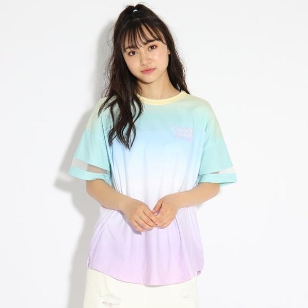SALE 売買 定番から日本未入荷 その他トップス ピンクラテ 袖シアー切り替えグラデーションTシャツ